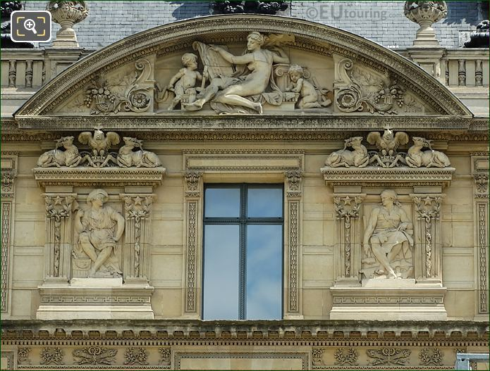 Aile De Marsan Third Window Facade With La Maconnerie Sculpture