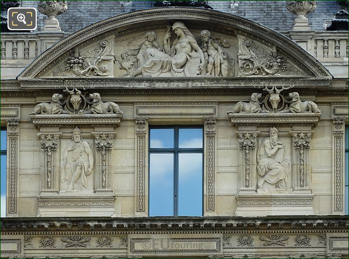 Aile De Marsan Fifth Window Facade With Charlemagne Sculpture