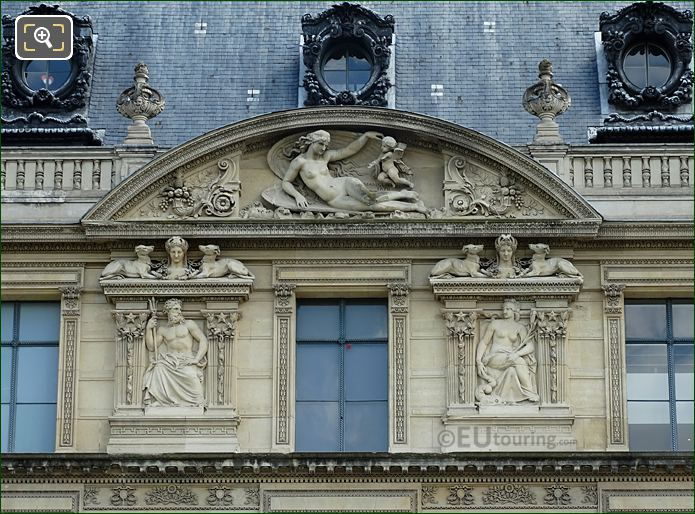 Aile De Marsan Sixth Window And Bas Relief Sculptures At Musee Du Louvre