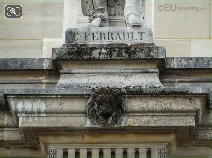 C Perrault Inscription On Pedestal On Aile Mollien Wing