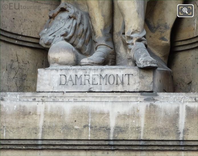 Damremont Inscription On Statue Pedestal