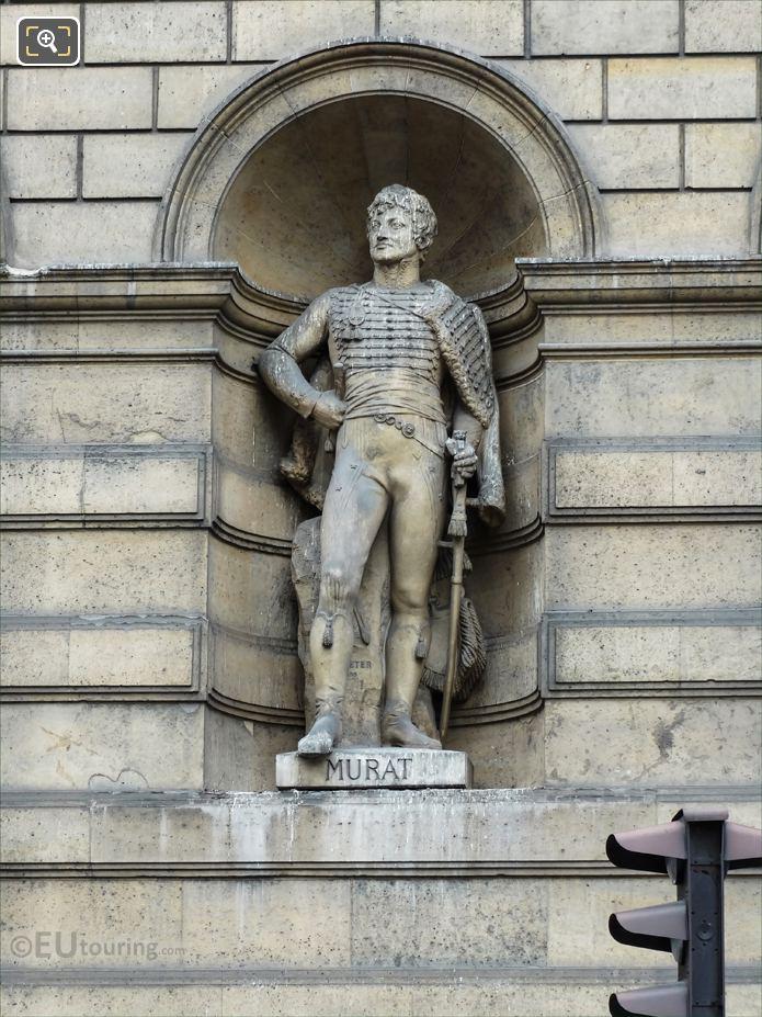 Joachim Murat statue on Aile de Rohan-Rivoli at Musee Louvre