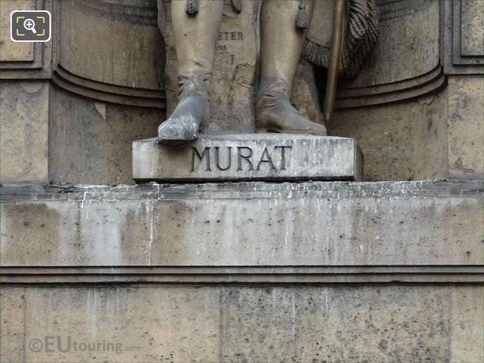 Murat inscription on Joachim Murat statue at Musee Louvre