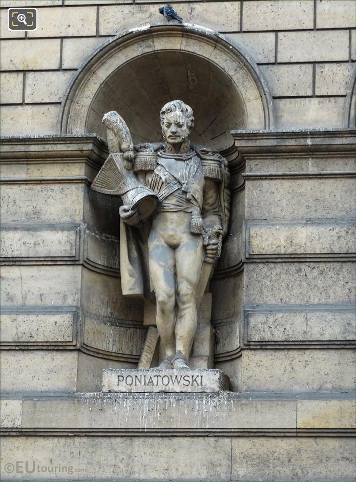 Jozef Poniatowski statue on Aile de Rohan-Rivoli Musee du Louvre