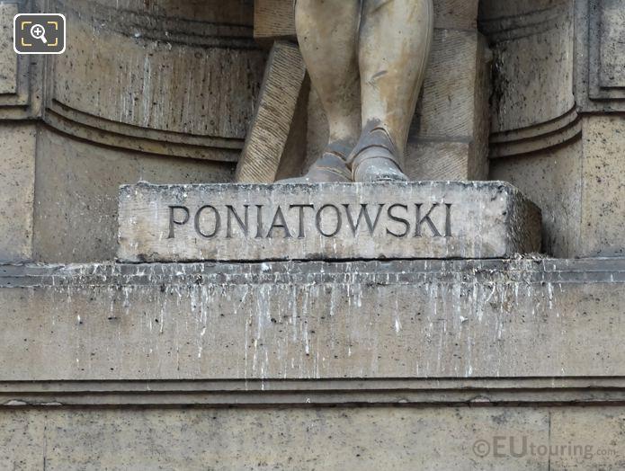 Jozef Poniatowski inscription on statue pedestal