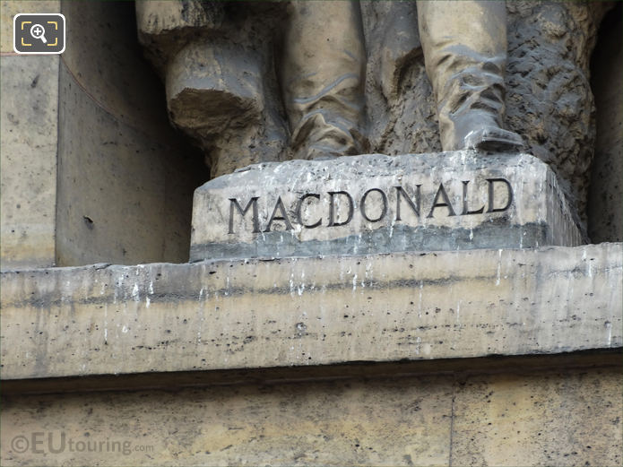 Jacques MacDonald inscription on statue pedestal