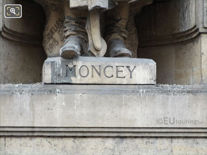 Name inscription on Bon-Adrien Jeannot de Moncey statue