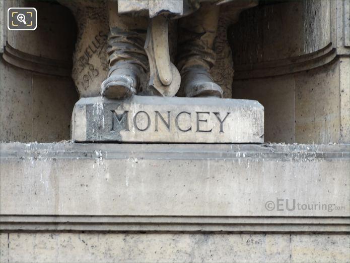 Name inscription on Bon-Adrien Jeannot de Moncey statue