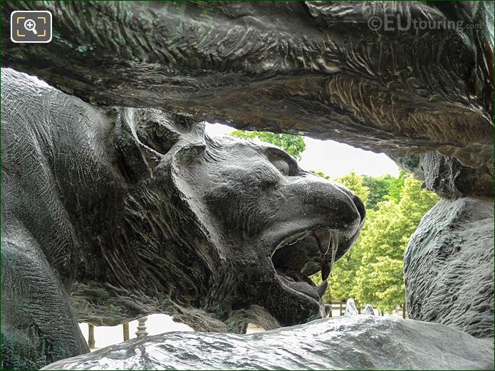 Bronze Tiger Face Jardin Des Tuileries Looking SW