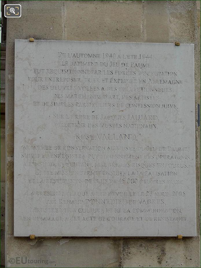 Stone Plaque South Side Of Jeu De Paume