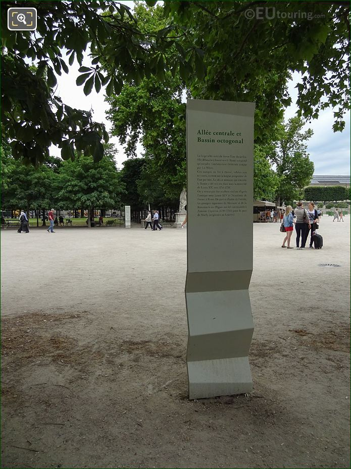 Allee Centrale Tourist Information Board In Jardin Des Tuileries Looking South West