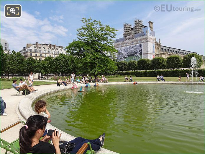NE View Model Sailing Boat Pond Tuileries Gardens