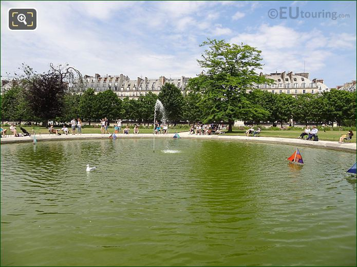 Model Sailing Boats On Vivier Nord In Jardin Des Tuileries Looking North