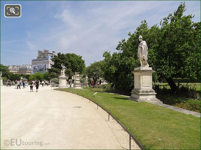 Demi-lune Reserve Sud And Statues In Jardin Des Tuileries Looking North East
