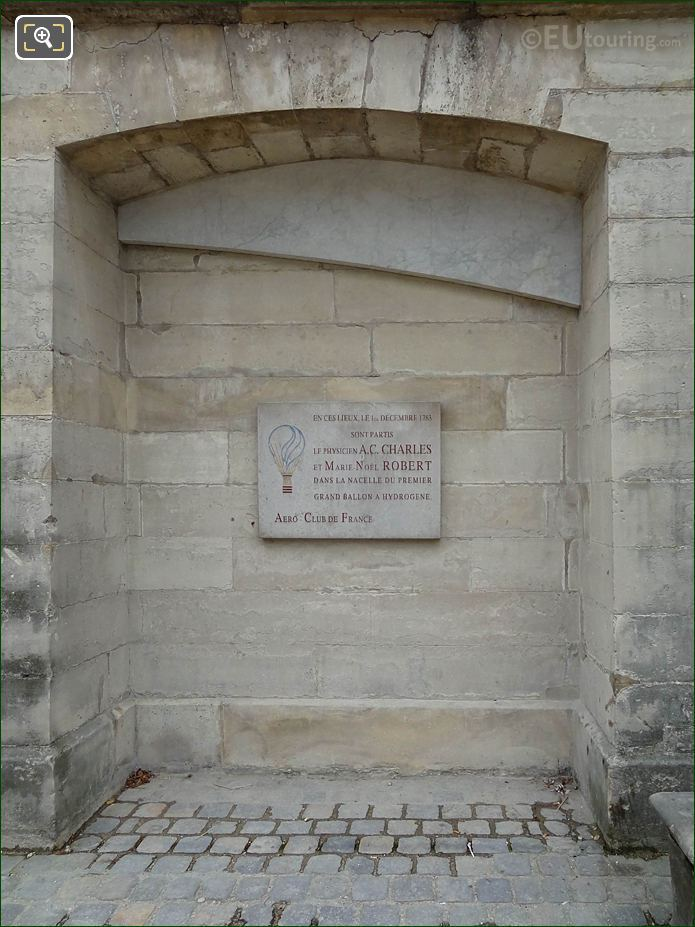 First Manned Hydrogen Balloon Flight Plaque In Jardin Des Tuileries Looking North Easterly
