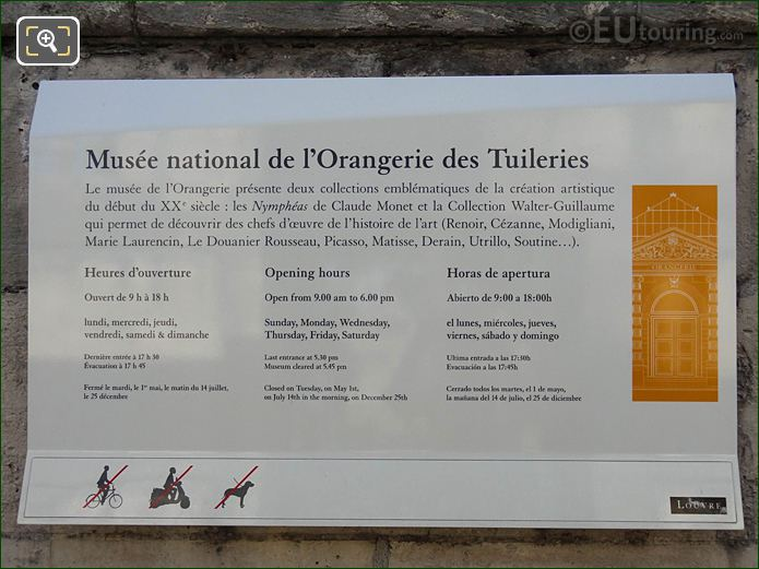 Tourist Information Board At Jardin Des Tuileries Looking East
