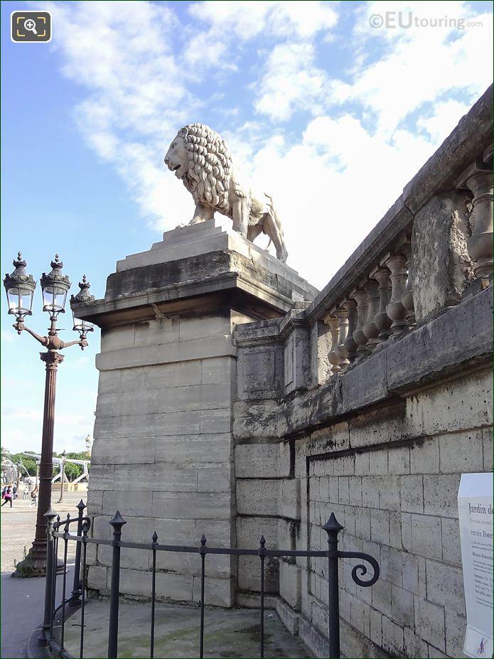 Lion Statue SW Corner Wall Jardin Des Tuileries Looking N