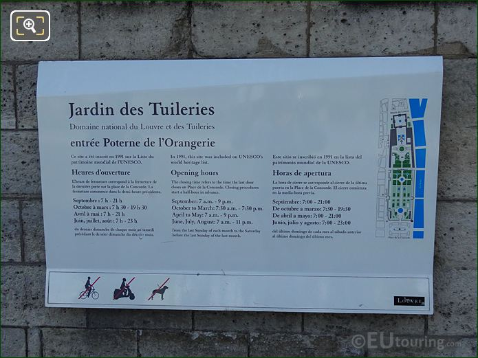 Tourist Information Board For Jardin Des Tuileries Looking East