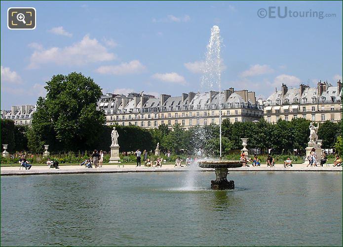 Grand Bassin Rond, Water Fountain Jardin Tuileries Looking N