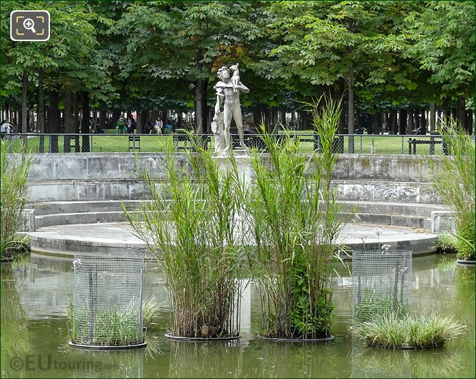 NW View Of Exedre Statue Within Water Feature