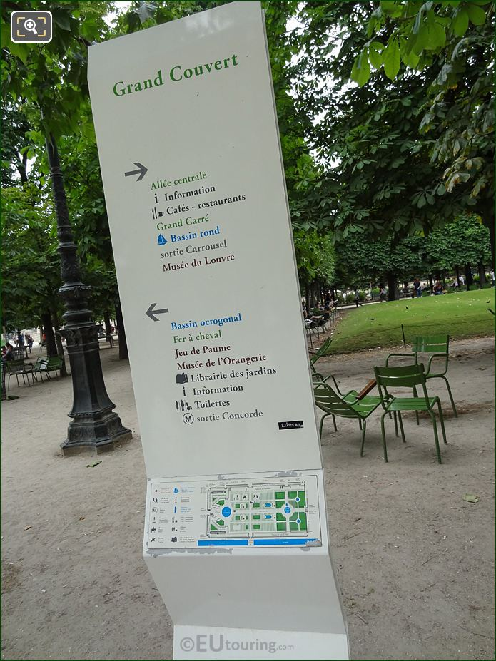 Grand Couvert Tourist Information Board In Jardin Des Tuileries Looking North