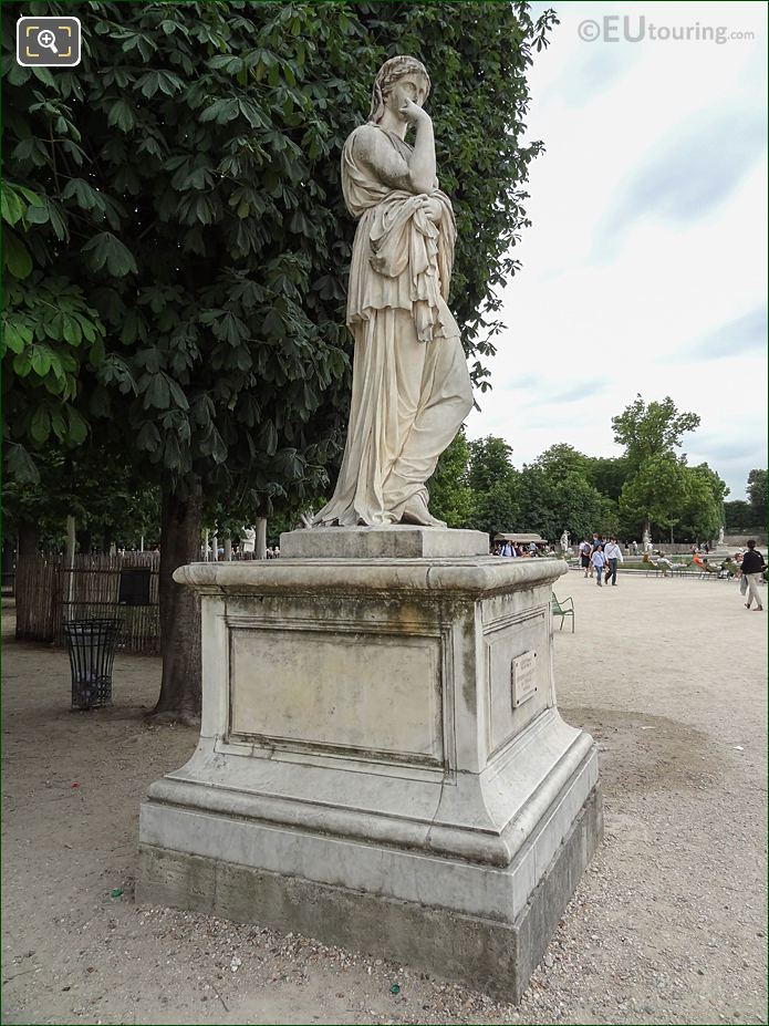 Bassin Octogonal Area With Veturie Sculpture In Jardin Des Tuileries Looking South
