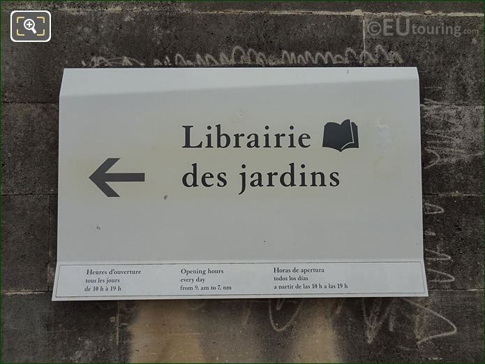 Tourist Information Sign For Bookshop In Jardin Des Tuileries