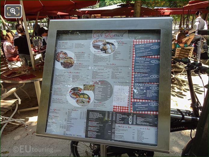 Cafe Renard Menu Board In Jardin Des Tuileries