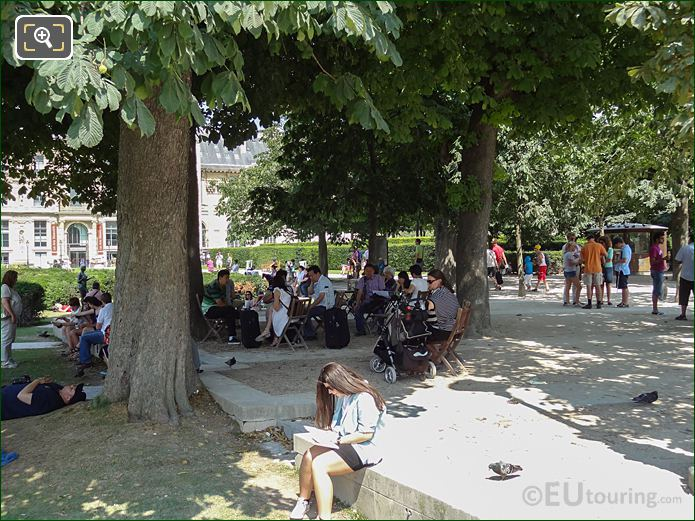 Tourists Inside Tuileries Gardens Looking North