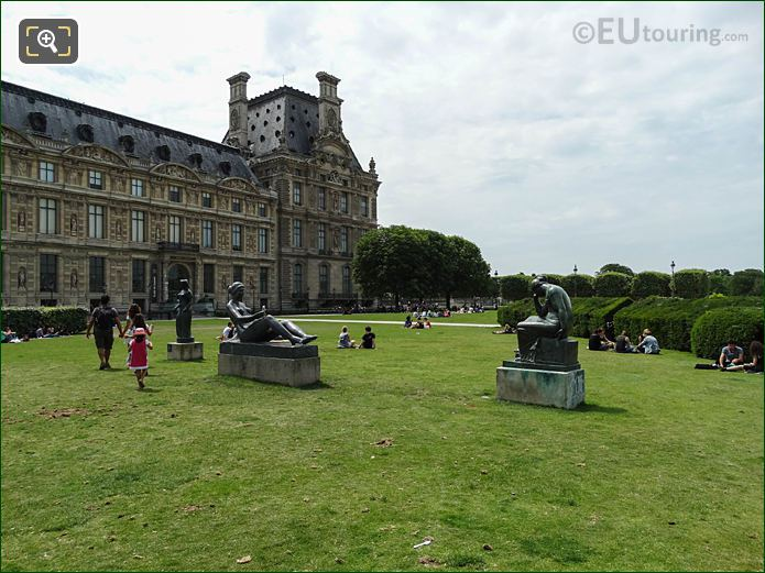 Bronze Maillol Statues Jardin Des Tuileries Looking SW