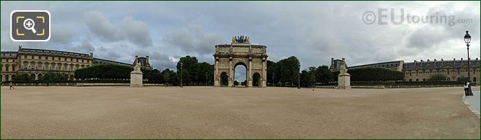 Panoramic Arc De Triomphe Du Carrousel And Gardens