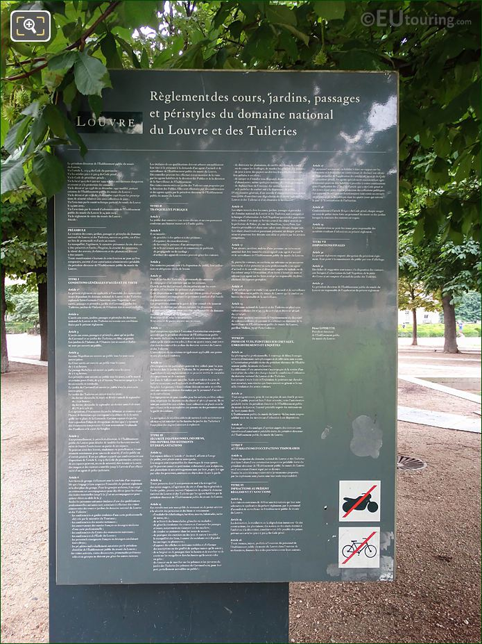 Information Board Jardin Des Tuileries Looking SE