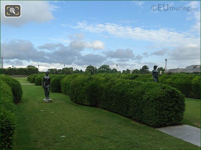 Hedges And Maillol Statues Inside Tuileries Gardens Looking North West