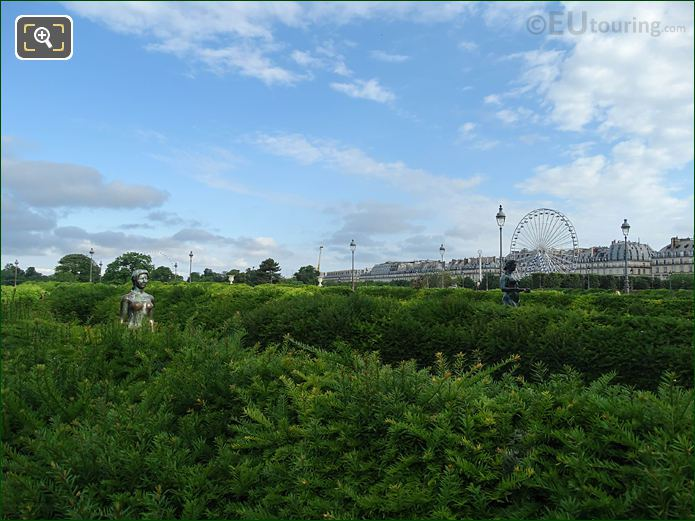 Boxwood Hedges, Statues Tuileries Gardens Looking NW