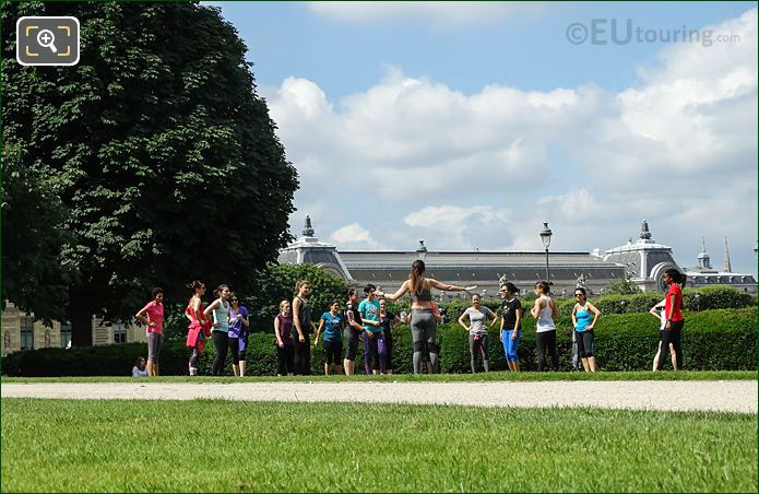 Yoga Lesson Jardin Des Tuileries Looking SW