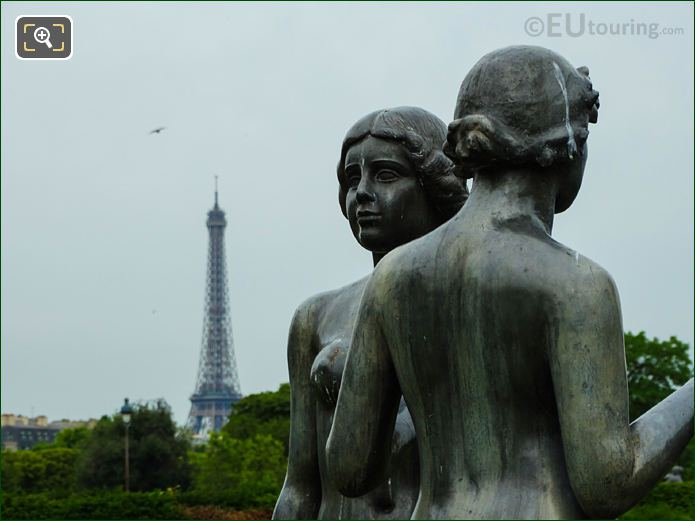 Eiffel Tower And Three Graces Statue In Tuileries Gardens Looking South West