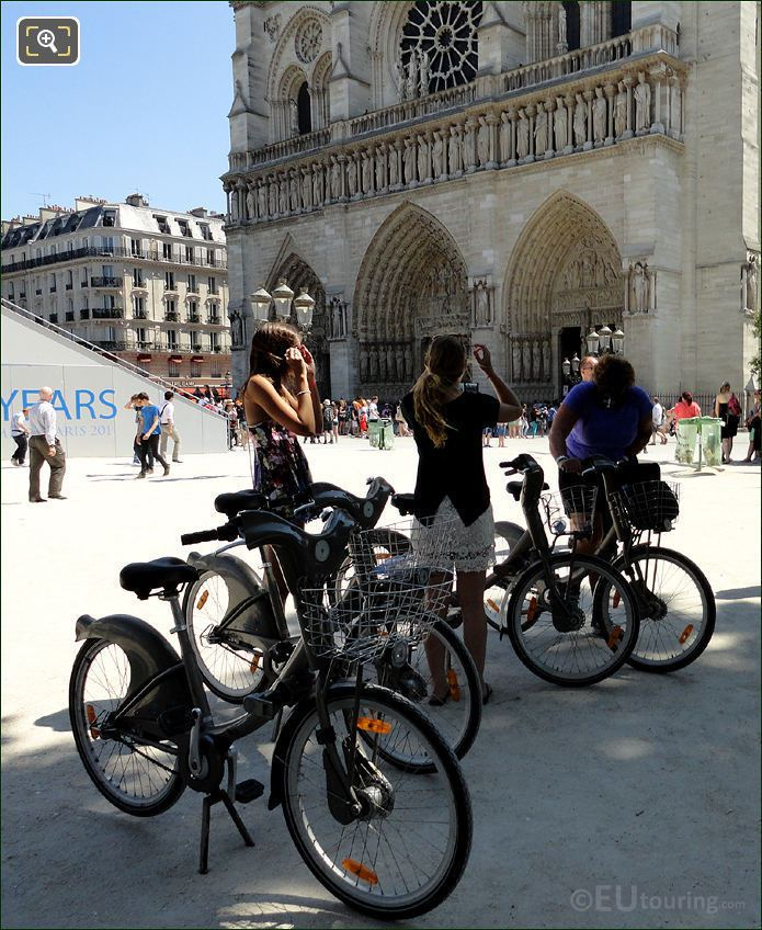 Velib Bikes At Notre Dame Cathedral