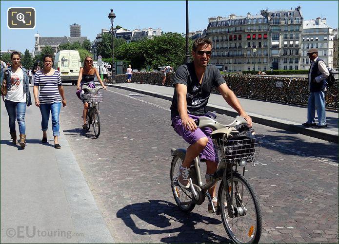 Velib Bikes On Pont de l'Archeveche