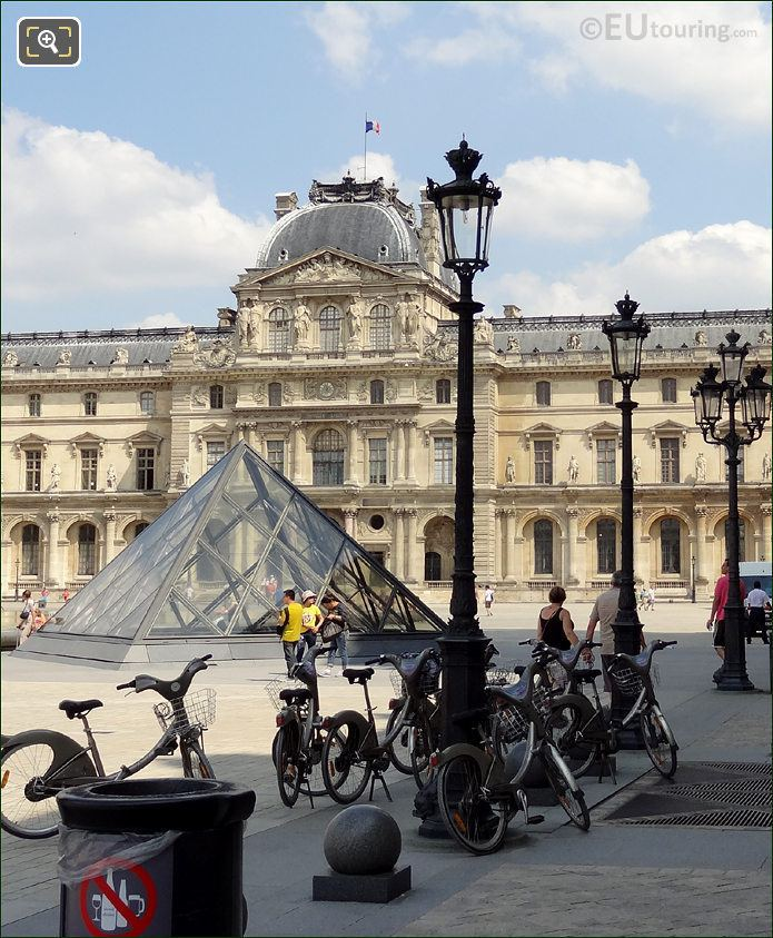 Velib Bikes At Musee de Louvre